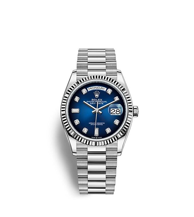 นาฬิกา Rolex Day-Date 36 มม., ทองคำขาว หน้าปัดสีน้ำเงินออมเบร ขอบหน้าปัดแบบเซาะร่อง