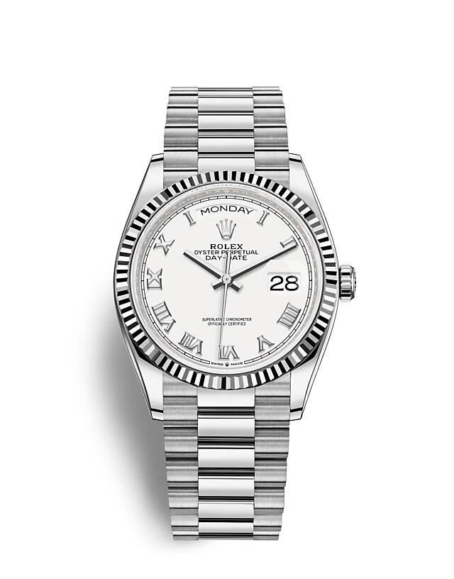 นาฬิกา Rolex Day-Date 36 มม., ทองคำขาว หน้าปัดสีขาว ขอบหน้าปัดแบบเซาะร่อง