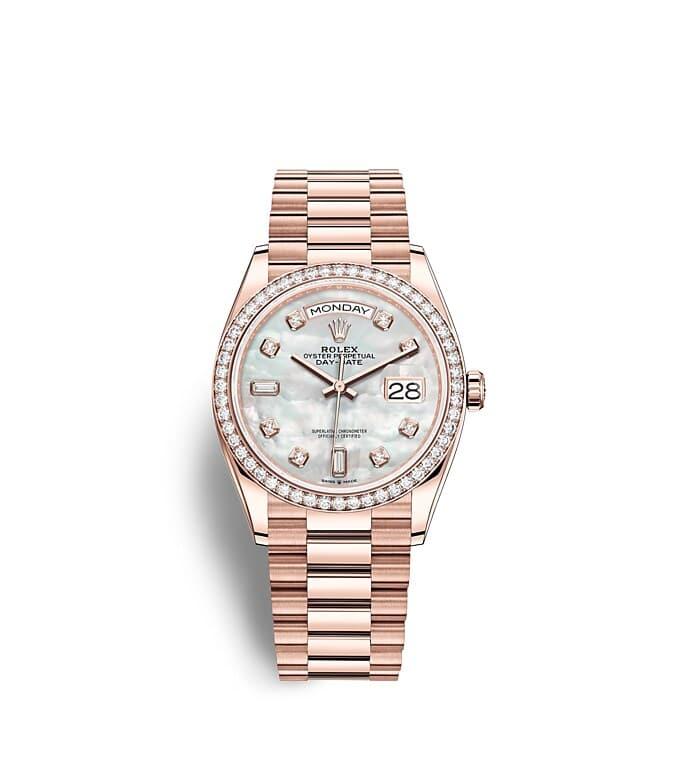 นาฬิกา Rolex Day-Date 36 มม., เอเวอร์โรสโกลด์และเพชร หน้าปัดไข่มุก ขอบหน้าปัดประดับเพชร