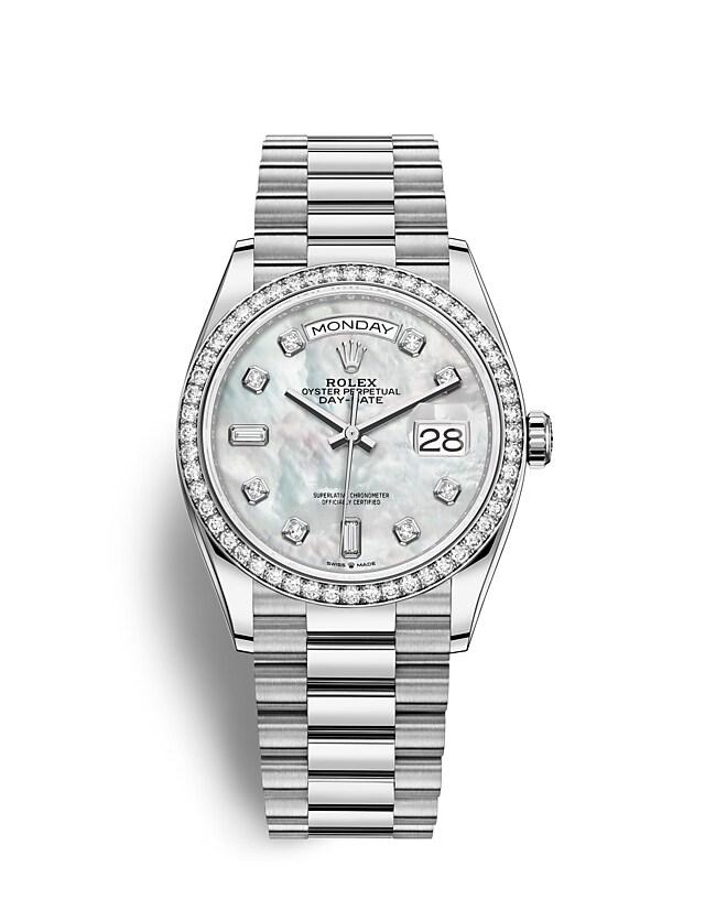 นาฬิกา Rolex Day-Date 36 มม., ทองคำขาวและเพชร หน้าปัดไข่มุก ขอบหน้าปัดประดับเพชร