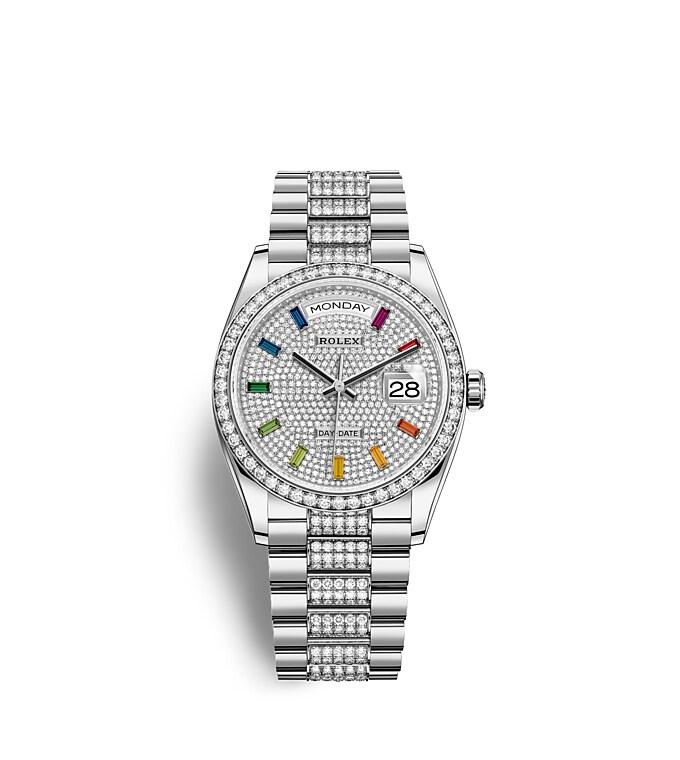 นาฬิกา Rolex Day-Date 36 มม., ทองคำขาวและเพชร หน้าปัดประดับเพชร ขอบหน้าปัดประดับเพชร
