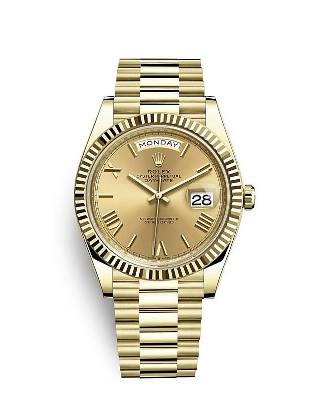 นาฬิกา Rolex Day-Date 40 มม., ทองคำ หน้าปัดสีแชมเปญ ขอบหน้าปัดแบบเซาะร่อง