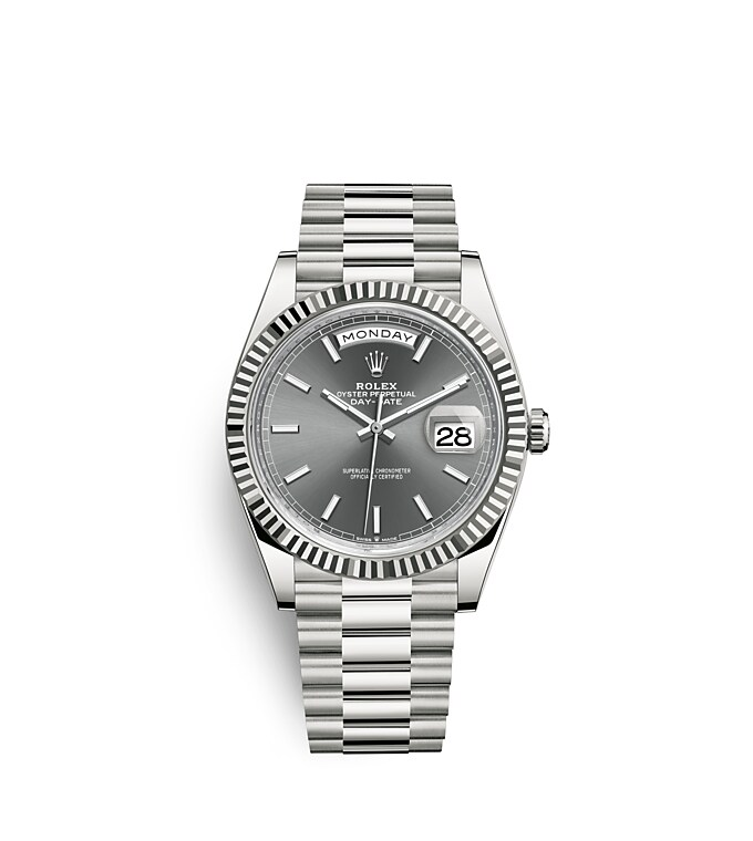 นาฬิกา Rolex Day-Date 40 มม., ทองคำขาว หน้าปัดสีเทาอมน้ำเงิน ขอบหน้าปัดแบบเซาะร่อง