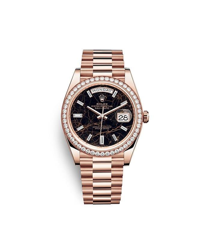 นาฬิกา Rolex Day-Date 40 มม., เอเวอร์โรสโกลด์และเพชร หน้าปัด EISENKIESEL ขอบหน้าปัดประดับเพชร