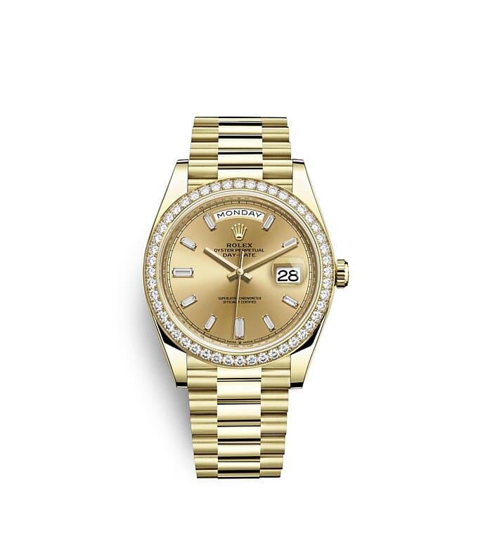 นาฬิกา Rolex Day-Date 40 มม., ทองคำและเพชร หน้าปัดสีแชมเปญ ขอบหน้าปัดประดับเพชร