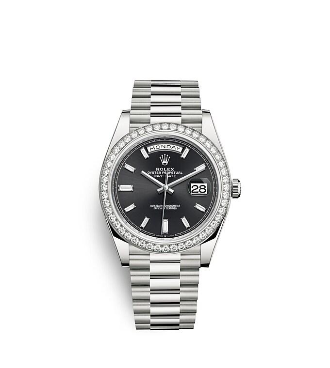 นาฬิกา Rolex Day-Date 40 มม., ทองคำขาว หน้าปัดสีดำสว่าง ขอบหน้าปัดประดับเพชร