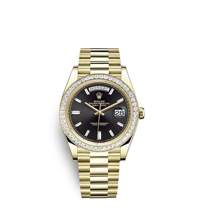 นาฬิกา Rolex Day-Date 40 มม., ทองคำและเพชร หน้าปัดสีดำสว่าง ขอบหน้าปัดประดับเพชร