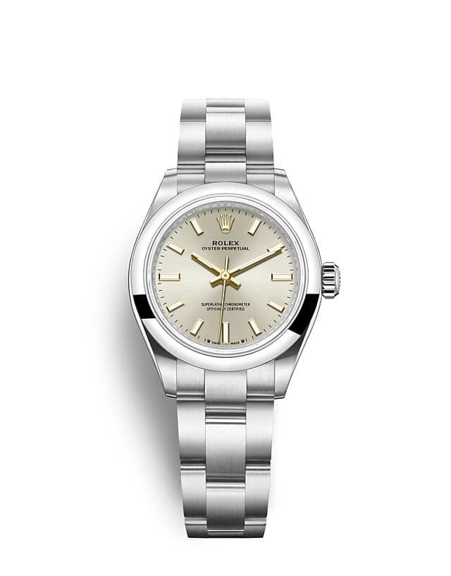 นาฬิกา Rolex Oyster Perpetual 28 มม., หน้าปัดสีเงิน สายนาฬิกา OYSTER