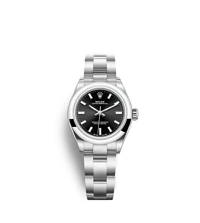 นาฬิกา Rolex Oyster Perpetual 28 มม., หน้าปัดสีดำสว่าง สายนาฬิกา OYSTER