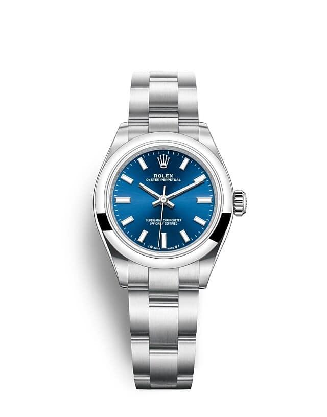 นาฬิกา Rolex Oyster Perpetual 28 มม., หน้าปัดสีน้ำเงินสว่าง สายนาฬิกา OYSTER