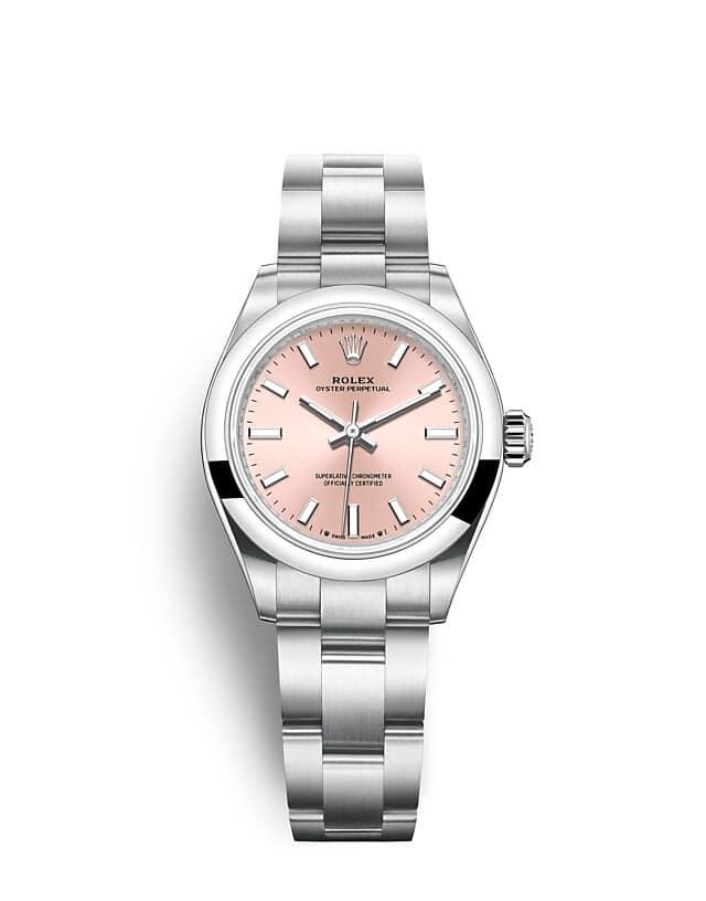 นาฬิกา Rolex Oyster Perpetual 28 มม., หน้าปัดสีชมพู สายนาฬิกา OYSTER