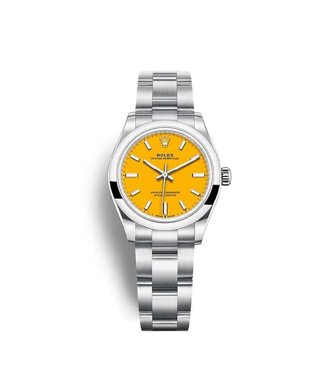 นาฬิกา Rolex Oyster Perpetual 31 มม., หน้าปัดสีเหลือง สายนาฬิกา OYSTER