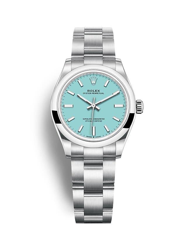 นาฬิกา Rolex Oyster Perpetual 31 มม., หน้าปัดสีฟ้าเทอร์ควอยซ์ สายนาฬิกา OYSTER