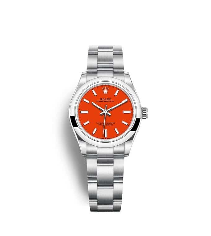นาฬิกา Rolex Oyster Perpetual 31 มม., หน้าปัดสีแดงปะการัง สายนาฬิกา OYSTER