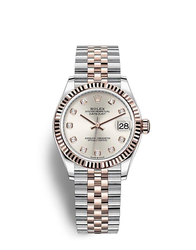 นาฬิกา Rolex Datejust 31 มม., Oystersteel และเอเวอร์โรสโกลด์ หน้าปัดสีเงินประดับเพชร