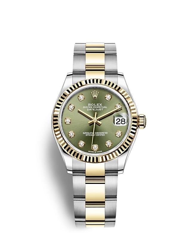 นาฬิกา Rolex Datejust 31 มม., Oystersteel และทองคำ หน้าปัดสีเขียวมะกอกประดับด้วยเพชร