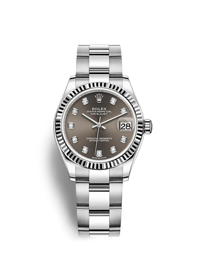นาฬิกา Rolex Datejust 31 มม., Oystersteel และทองคำขาว หน้าปัดสีเทาเข้ม