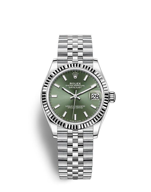 นาฬิกา Rolex Datejust 31 มม., Oystersteel และทองคำขาว หน้าปัดสีเขียวมิ้นต์