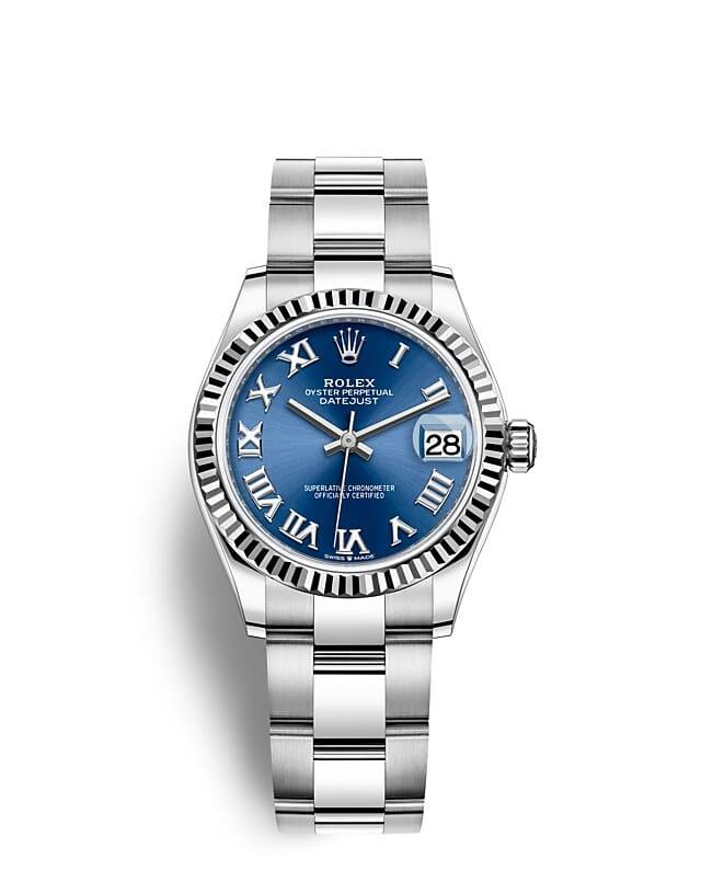 นาฬิกา Rolex Datejust 31 มม., Oystersteel และทองคำขาว หน้าปัดสีน้ำเงินสว่าง