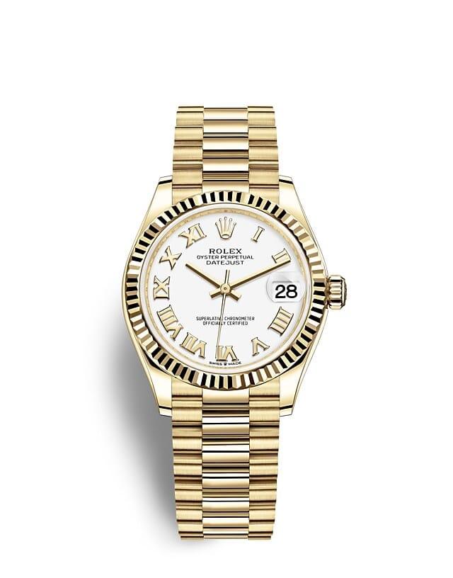 นาฬิกา Rolex Datejust 31 มม., ทองคำ หน้าปัดสีขาว ขอบหน้าปัดแบบเซาะร่อง