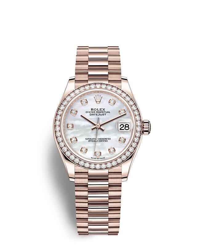 นาฬิกา Rolex Datejust 31 มม., เอเวอร์โรสโกลด์และเพชร หน้าปัดไข่มุกขาวประดับด้วยเพชร ขอบหน้าปัดประดับเพชร