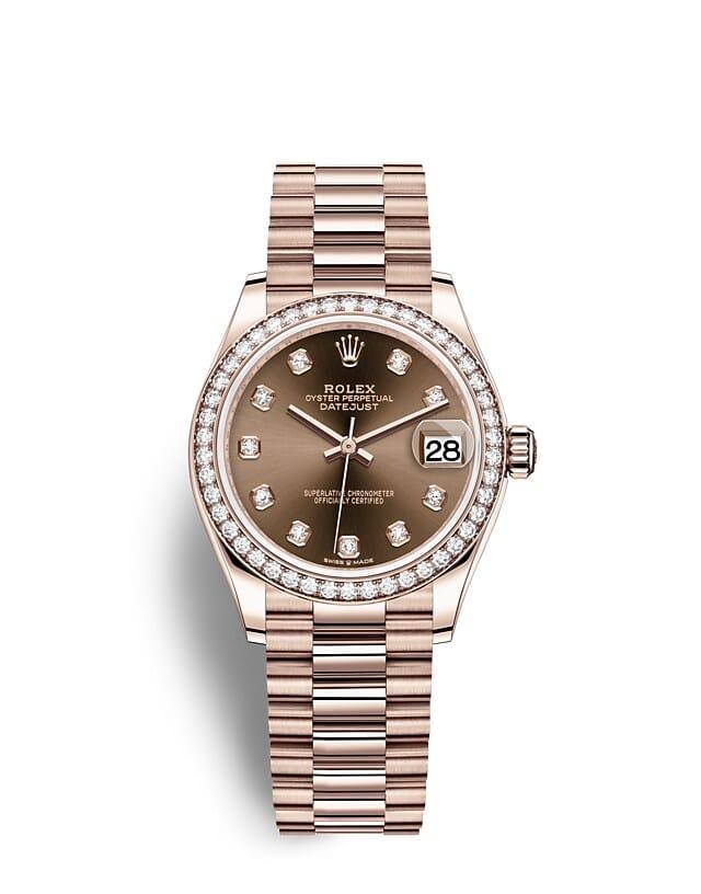 นาฬิกา Rolex Datejust 31 มม., เอเวอร์โรสโกลด์และเพชร หน้าปัดสีช็อกโกแลต ขอบหน้าปัดประดับเพชร