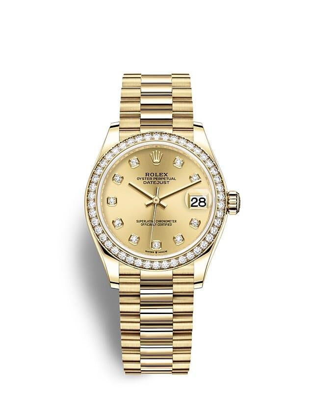 นาฬิกา Rolex Datejust 31 มม., ทองคำและเพชร หน้าปัดสีแชมเปญ ขอบหน้าปัดประดับเพชร