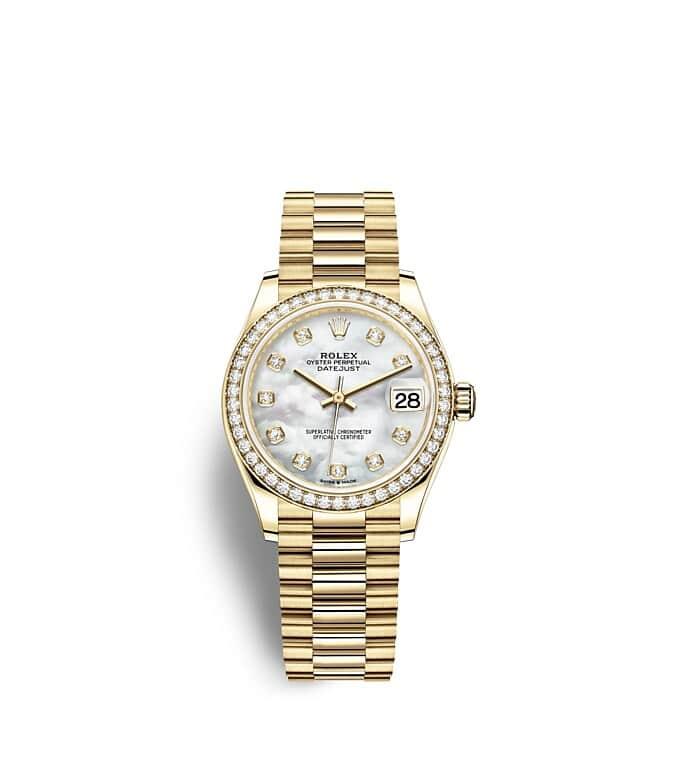 นาฬิกา Rolex Datejust 31 มม., ทองคำและเพชร หน้าปัดไข่มุกขาวประดับด้วยเพชร ขอบหน้าปัดประดับเพชร