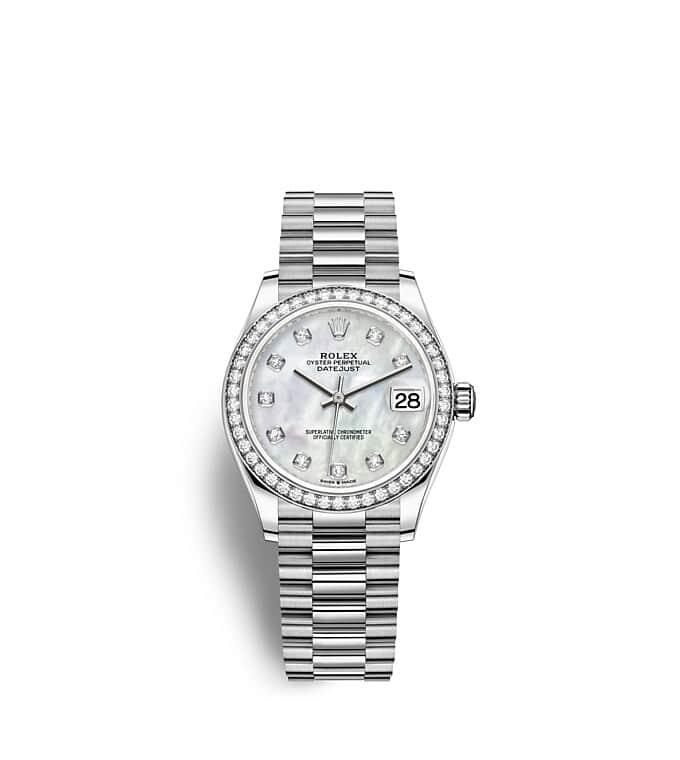 นาฬิกา Rolex Datejust 31 มม., ทองคำขาวและเพชร หน้าปัดไข่มุกขาวประดับด้วยเพชร ขอบหน้าปัดประดับเพชร