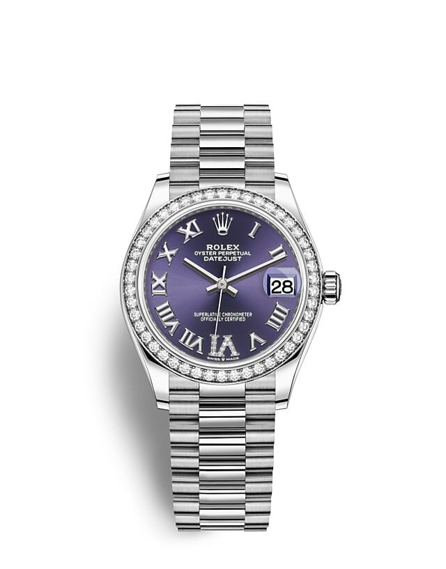 นาฬิกา Rolex Datejust 31 มม., ทองคำขาวและเพชร หน้าปัดสีม่วงเข้ม ขอบหน้าปัดประดับเพชร