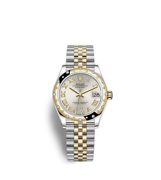 นาฬิกา Rolex Datejust 31 มม., Oystersteel, ทองคำและเพชร หน้าปัดสีเงิน ขอบหน้าปัดประดับเพชร