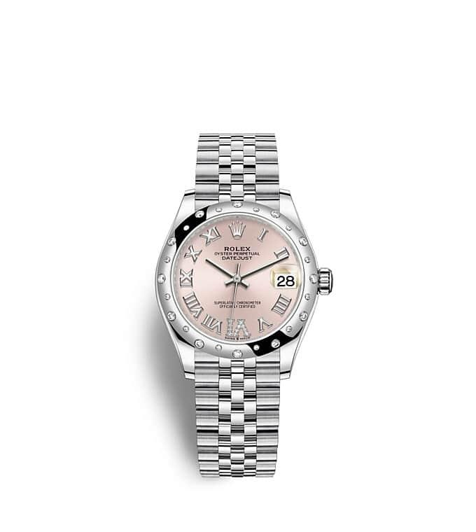 นาฬิกา Rolex Datejust 31 มม., Oystersteel ทองคำขาวและเพชร หน้าปัดสีชมพูประดับด้วยเพชร ขอบหน้าปัดประดับเพชร