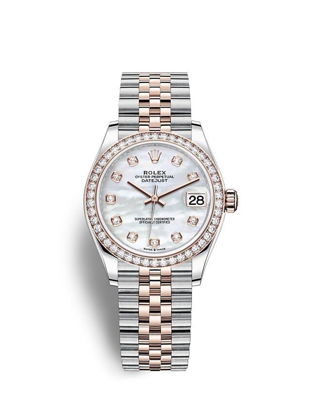 นาฬิกา Rolex Datejust 31 มม., Oystersteel เอเวอร์โรสโกลด์และเพชร หน้าปัดไข่มุกขาวประดับด้วยเพชร ขอบหน้าปัดประดับเพชร