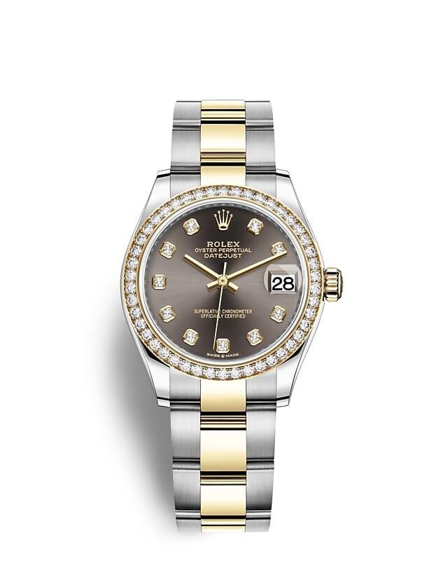 นาฬิกา Rolex Datejust 31 มม., Oystersteel, ทองคำและเพชร หน้าปัดสีเทาเข้ม ขอบหน้าปัดประดับเพชร