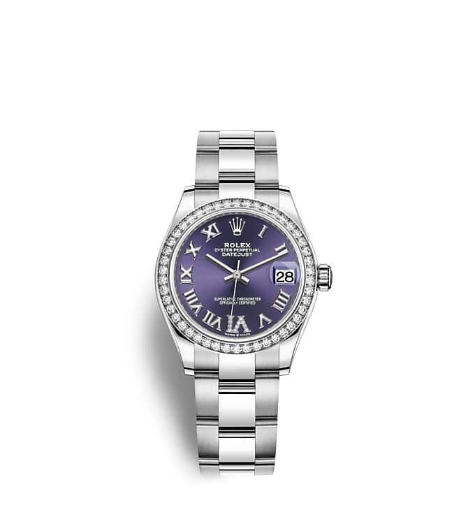 นาฬิกา Rolex Datejust 31 มม., Oystersteel ทองคำขาวและเพชร หน้าปัดสีม่วงเข้มประดับด้วยเพชร ขอบหน้าปัดประดับเพชร