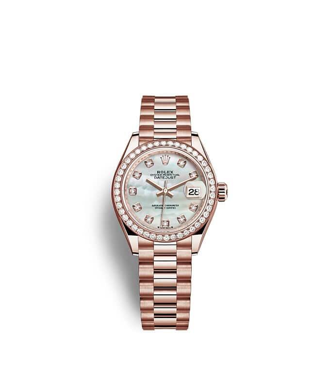 นาฬิกา Rolex Lady-Datejust 28 มม., เอเวอร์โรสโกลด์ หน้าปัดไข่มุก ขอบหน้าปัดประดับเพชร