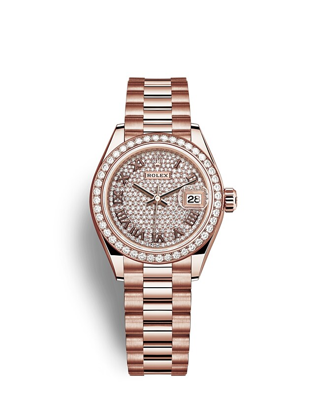 นาฬิกา Rolex Lady-Datejust 28 มม., เอเวอร์โรสโกลด์ หน้าปัดและขอบหน้าปัดประดับเพชร