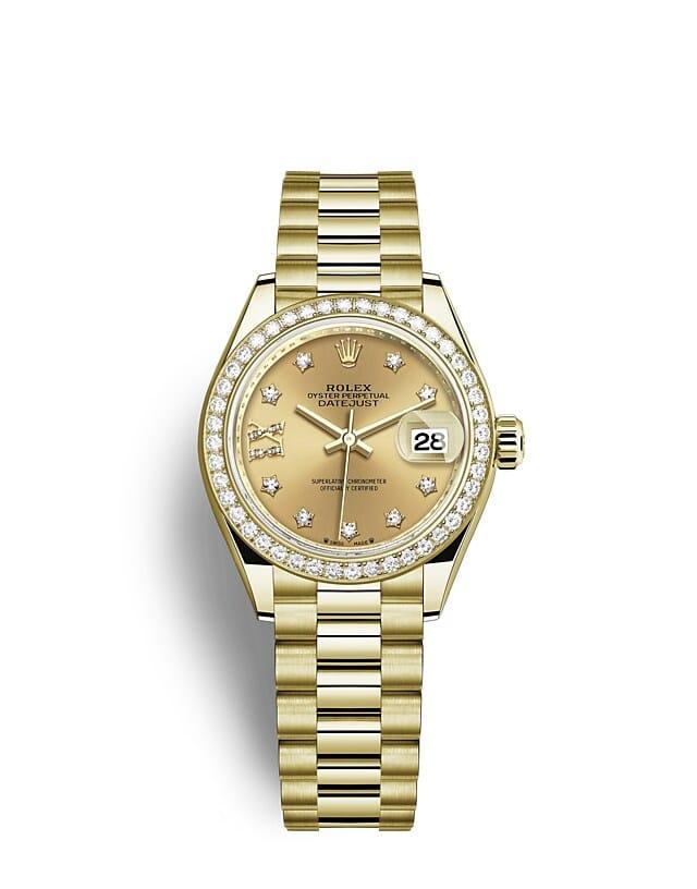 นาฬิกา Rolex Lady-Datejust 28 มม., ทองคำและเพชร หน้าปัดสีแชมเปญ ขอบหน้าปัดประดับเพชร