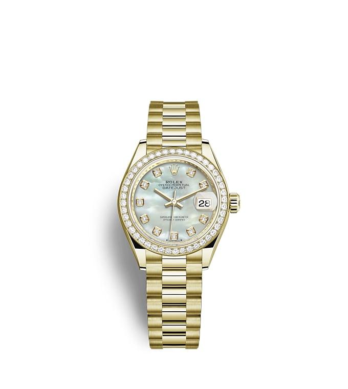 นาฬิกา Rolex Lady-Datejust 28 มม., ทองคำ หน้าปัดไข่มุก ขอบหน้าปัดประดับเพชร