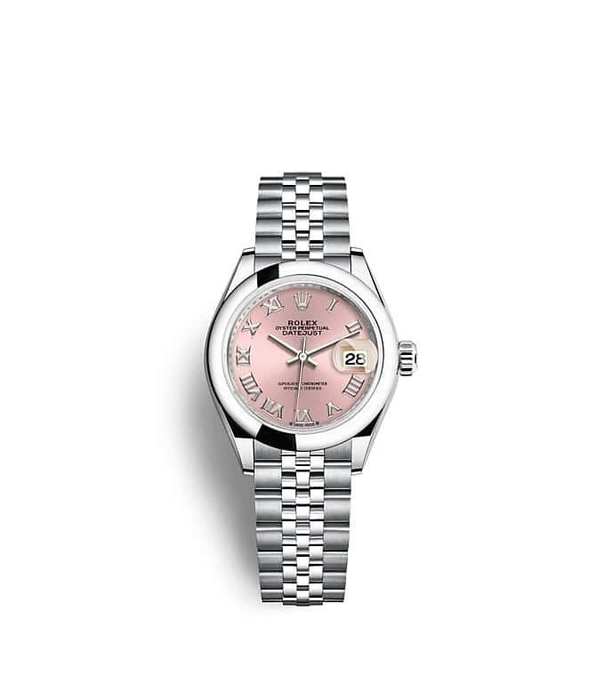 นาฬิกา Rolex Lady-Datejust 28 มม., หน้าปัดสีชมพู สายนาฬิกา JUBILEE