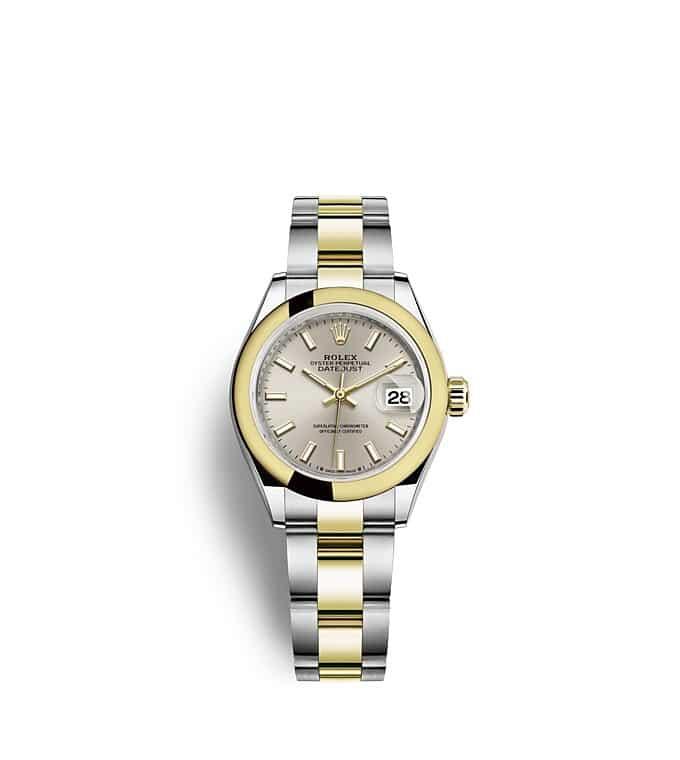 นาฬิกา Rolex Lady-Datejust 28 มม., ทองคำ หน้าปัดสีเงิน สายนาฬิกา OYSTER