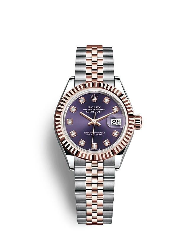 นาฬิกา Rolex Lady-Datejust 28 มม., เอเวอร์โรสโกลด์ หน้าปัดสีม่วงเข้ม ขอบหน้าปัดแบบเซาะร่อง
