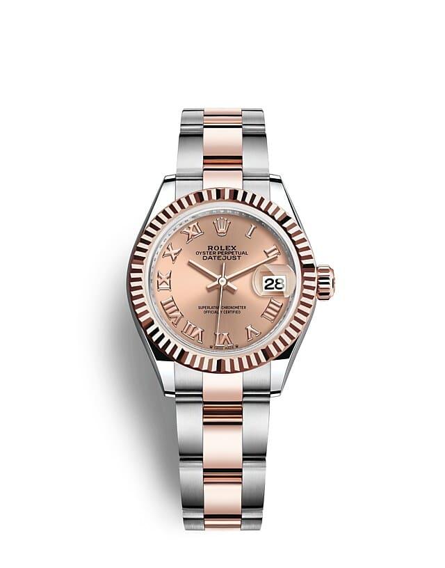 นาฬิกา Rolex Lady-Datejust 28 มม., เอเวอร์โรสโกลด์ หน้าปัดสีชมพูกุหลาบ ขอบหน้าปัดแบบเซาะร่อง