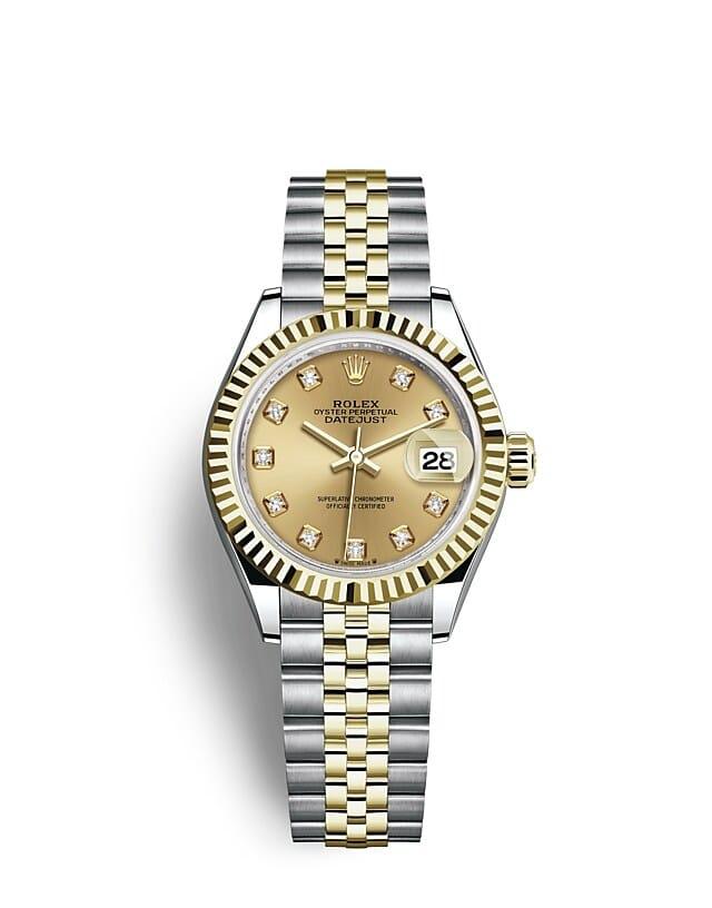 นาฬิกา Rolex Lady-Datejust 28 มม., ทองคำ หน้าปัดสีแชมเปญ ขอบหน้าปัดแบบเซาะร่อง