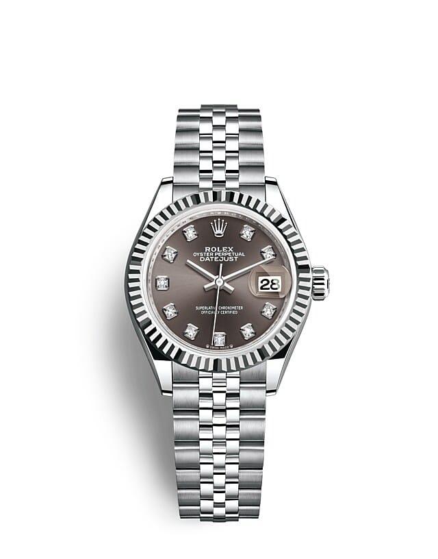 นาฬิกา Rolex Lady-Datejust 28 มม., ทองคำขาว หน้าปัดสีเทาเข้ม ขอบหน้าปัดแบบเซาะร่อง