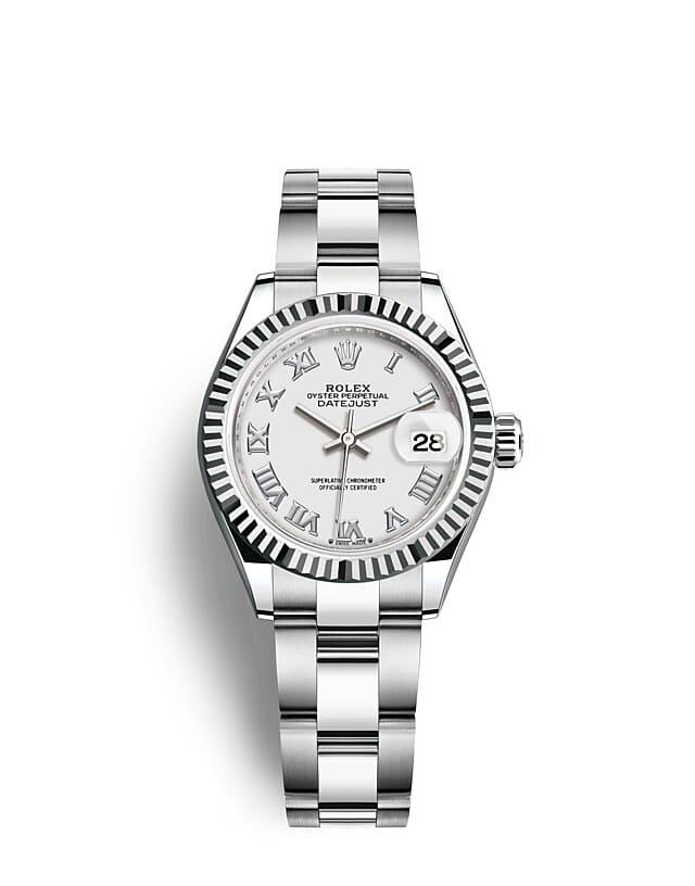 นาฬิกา Rolex Lady-Datejust 28 มม., ทองคำขาว หน้าปัดสีขาว ขอบหน้าปัดแบบเซาะร่อง