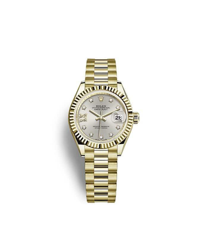 นาฬิกา Rolex Lady-Datejust 28 มม., ทองคำ หน้าปัดสีเงิน ขอบหน้าปัดแบบเซาะร่อง