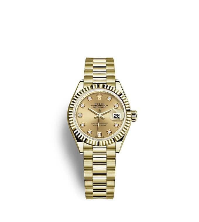 นาฬิกา Rolex Lady-Datejust 28 มม., หน้าปัดสีแชมเปญ ขอบหน้าปัดแบบเซาะร่อง