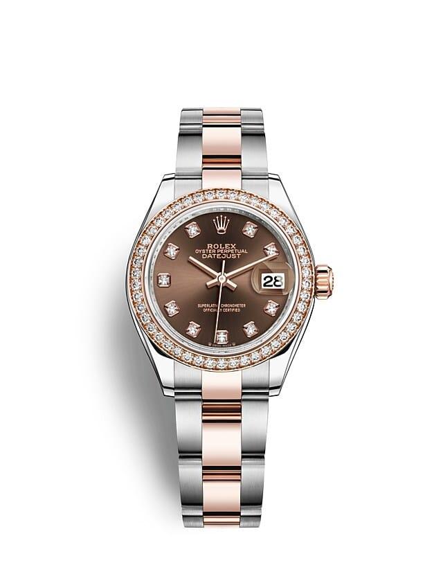 นาฬิกา Rolex Lady-Datejust 28 มม., เอเวอร์โรสโกลด์และเพชร หน้าปัดสีช็อกโกแลต ขอบหน้าปัดประดับเพชร