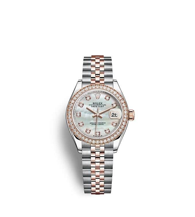 นาฬิกา Rolex Lady-Datejust 28 มม., เอเวอร์โรสโกลด์และเพชร หน้าปัดไข่มุก ขอบหน้าปัดประดับเพชร